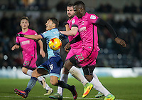 Scott Kashket of Wycombe Wanderers goes down in the area during the Sky Bet League 2 match between Wycombe Wanderers and Hartlepool United at Adams Park, High Wycombe, England on 26 November 2016. Photo by Andy Rowland / PRiME Media Images.