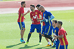 Koke Resurreccion, David Villa, Sergio Busquets, Pepe Reina during the training of the spanish national football team in the city of football of Las Rozas in Madrid, Spain. August 28, 2017. (ALTERPHOTOS/Rodrigo Jimenez)