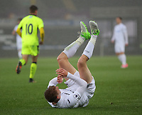 Pictured: Jay Fulton of Swansea City rolls on the pitch Monday 15 May 2017<br /> Re: Premier League Cup Final, Swansea City FC U23 v Reading U23 at the Liberty Stadium, Wales, UK