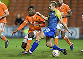 18/12/18 The Emirates FA Cup, 2nd Round Replay Blackpool v Solihull Moor<br /> <br /> Donervon Daniels tackles Danny Wright