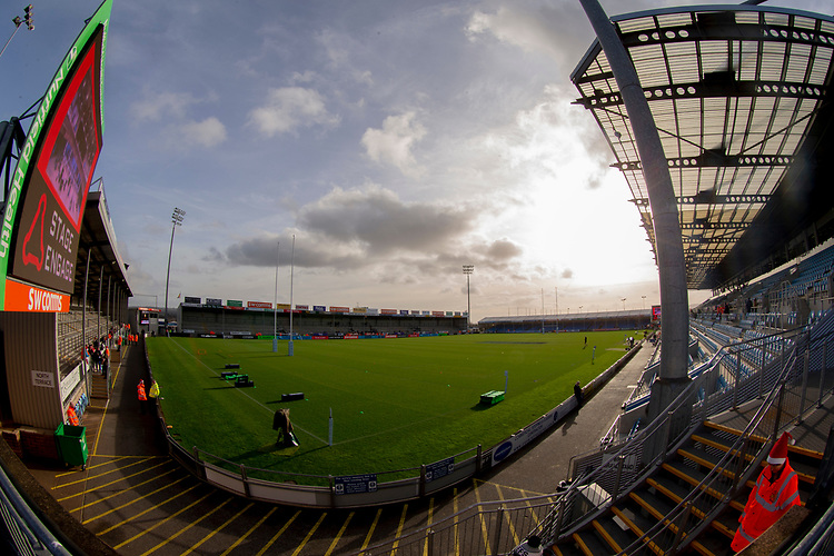 A general view of Sandy Park, home of Exeter Chiefs<br /> <br /> Photographer Bob Bradford/CameraSport<br /> <br /> Gallagher Premiership Round 10 - Exeter Chiefs v Saracens - Saturday 22nd December 2018 - Sandy Park - Exeter<br /> <br /> World Copyright © 2018 CameraSport. All rights reserved. 43 Linden Ave. Countesthorpe. Leicester. England. LE8 5PG - Tel: +44 (0) 116 277 4147 - admin@camerasport.com - www.camerasport.com