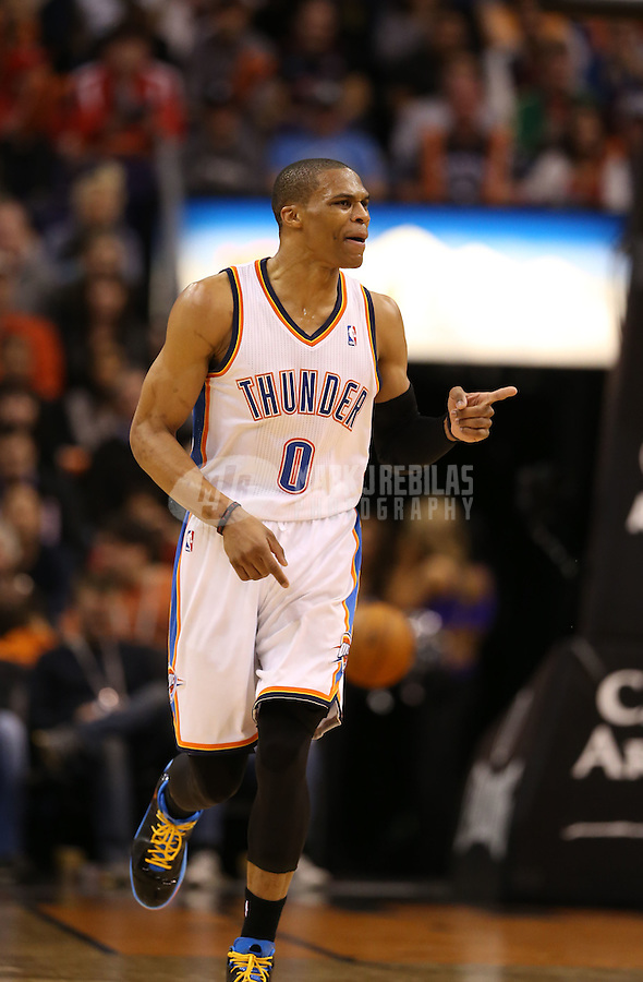 Feb. 10, 2013; Phoenix, AZ, USA: Oklahoma City Thunder point guard Russell Westbrook against the Phoenix Suns at the US Airways Center. Mandatory Credit: Mark J. Rebilas-