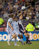 New England Revolution forward Zack Schilawski (15) heads the ball. The Colorado Rapids defeated the New England Revolution, 2-1, at Gillette Stadium on April 24, 2010.