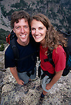 Wide-angle portrait of young couple after hiking, Rocky Mtns, CO