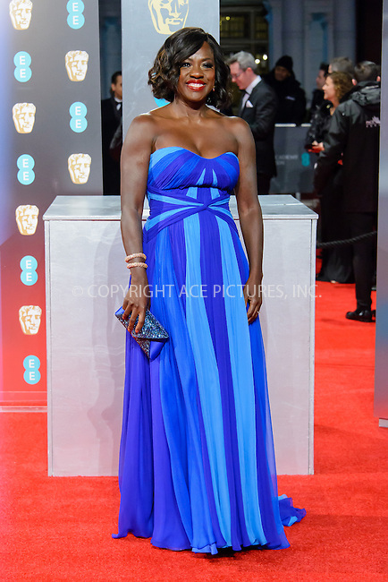 www.acepixs.com<br /> <br /> February 12 2017, London<br /> <br /> Viola Davis arriving at the 70th EE British Academy Film Awards (BAFTA) at the Royal Albert Hall on February 12, 2017 in London, England<br /> <br /> By Line: Famous/ACE Pictures<br /> <br /> <br /> ACE Pictures Inc<br /> Tel: 6467670430<br /> Email: info@acepixs.com<br /> www.acepixs.com