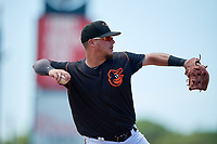 GCL Orioles Zachary McLeod (54) throws to first base during a Gulf Coast League game against the GCL Red Sox on July 29, 2019 at Ed Smith Stadium in Sarasota, Florida.  GCL Red Sox defeated the GCL Pirates 9-1.  (Mike Janes/Four Seam Images)