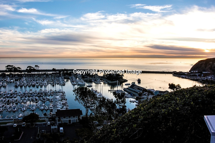 Sunset over Dana Point Harbor Stock Photo