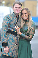 Chloe Meadows & Taylor Barnett<br /> arriving for filming for the Towie Diwali party at sugar hut brentwood essex <br /> <br /> ©Richard Open snappers
