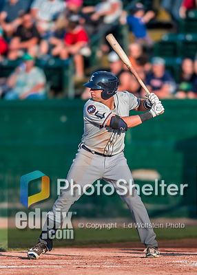 20 August 2017: Connecticut Tigers infielder Jordan Pearce, a 21st round draft pick for the Detroit Tigers, in action against the Vermont Lake Monsters at Centennial Field in Burlington, Vermont. The Lake Monsters rallied to edge out the Tigers 6-5 in 13 innings of NY Penn League action.  Mandatory Credit: Ed Wolfstein Photo *** RAW (NEF) Image File Available ***