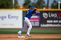Rancho Cucamonga Quakes shortstop Jacob Amaya (25) throws to first base during a California League game against the Inland Empire 66ers at LoanMart Field on September 2, 2019 in Rancho Cucamonga, California. Rancho Cucamonga defeated Inland Empire 4-3. (Zachary Lucy/Four Seam Images)