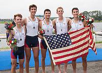 Rotterdam. Netherlands.  Bronze Medalist USA JM4+. Bow. Kenneth COPLAN, Pieter QUINTON,  Kyle<br /> FRAM, Harrison BURKE, and Cox. Ethan RUIZ, 2016 JWRC, U23 and Non Olympic Regatta. {WRCH2016}  at the Willem-Alexander Baan.   Sunday  28/08/2016 <br /> <br /> [Mandatory Credit; Peter SPURRIER/Intersport Images]