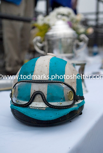 Willy Dowling helmet after winning the Carolina Cup aboard Good Night Shirt.