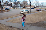 "Kendrick Brinson.LUCEO..Sloan Olson plays outside her family's apartment in January in oil boom-town Williston, North Dakota. Her grandmother Peggy Adrin said the town has ""really changed a lot"" since she first moved there 30 years ago. ""When we first moved here, there was nothing,"" she said. Williston, North Dakota is currently experiencing an influx of people relocating there for the town's third oil boom...Model Released: Yes.Assigning Editor: Michael Wichita."
