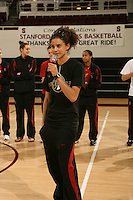 9 April 2008: Stanford Cardinal Women's Basketball fans welcome home the team after competing in the 2008 NCAA Division I Women's Basketball Final Four Championship at Maples Pavilion in Stanford, CA. Pictured is Cissy Pierce.