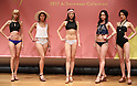November 7, 2016, Tokyo, Japan - Rui Kumae (C), the new campaign girl of Japanese apparel maker Wacoal's San-ai swimsuits brand and models display San-ai's 2017 swimsuits collection in Tokyo on Monday, November 7, 2016. The 21-year-old China born weather reporter Kumae is selected for the 2017 San-ai campaign girl, replacement of Erika Matsumoto.  (Photo by Yoshio Tsunoda/AFLO) LWX -ytd-