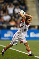 Chris Korb (22) of D. C. United on a throw in. The Philadelphia Union defeated D. C. United 2-0 during a Major League Soccer (MLS) match at PPL Park in Chester, PA, on August 10, 2013.