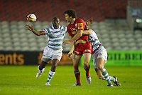 130712 Copyright onEdition 2012 ©.Free for editorial use image, please credit: onEdition..Duncan Taylor of Saracens is tackled by Steven Shingler of London Irish as Topsy Ojo of London Irish looks on at The Stoop, Twickenham in the first round of The J.P. Morgan Asset Management Premiership Rugby 7s Series...The J.P. Morgan Asset Management Premiership Rugby 7s Series kicked off again for the third season on Friday 13th July at The Stoop, Twickenham with Pool B being played at Edgeley Park, Stockport on Friday, 20th July, Pool C at Kingsholm Gloucester on Thursday, 26th July and the Final being played at The Recreation Ground, Bath on Friday 3rd August. The innovative tournament, which involves all 12 Premiership Rugby clubs, offers a fantastic platform for some of the country's finest young athletes to be exposed to the excitement, pressures and skills required to compete at an elite level...The 12 Premiership Rugby clubs are divided into three groups for the tournament, with the winner and runner up of each regional event going through to the Final. There are six games each evening, with each match consisting of two 7 minute halves with a 2 minute break at half time...For additional images please go to: http://www.w-w-i.com/jp_morgan_premiership_sevens/..For press contacts contact: Beth Begg at brandRapport on D: +44 (0)20 7932 5813 M: +44 (0)7900 88231 E: BBegg@brand-rapport.com..If you require a higher resolution image or you have any other onEdition photographic enquiries, please contact onEdition on 0845 900 2 900 or email info@onEdition.com.This image is copyright the onEdition 2012©..This image has been supplied by onEdition and must be credited onEdition. The author is asserting his full Moral rights in relation to the publication of this image. Rights for onward transmission of any image or file is not granted or implied. Changing or deleting Copyright information is illegal as specified in the Copyright, Design and Patents Act 1988. If you are in any way
