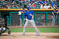 Mike Olt (20) of the Iowa Cubs at bat against the Salt Lake Bees in Pacific Coast League action at Smith's Ballpark on August 21, 2015 in Salt Lake City, Utah. The Bees defeated the Cubs 12-8.  (Stephen Smith/Four Seam Images)