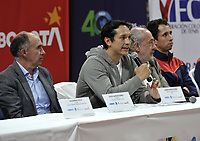 BOGOTA-COLOMBIA, 28-02-2020: David Samudio, Presidente de la Federacion Colombiana de Tenis; Javier Suares, Subdirector Tecnico de Parques del IDRD; Ignacio Correa, Presidente de Colsanitas y Daniel Galan, Deportista; durante la entrega de la adecuación de la cancha de polvo de ladrillo en el Palacio de los Deportes, en donde se disputaran Las clasificatorias Copa Davis by Rakuten 2020 entre Colombia y Argentina en marzo 6 y 7 de 2020. / David Samudio, President of the Colombian Tennis Federation; Javier Suares, Technical Deputy Director of Parks of IDRD; Ignacio Correa, President of Colsanitas and Daniel Galan, Sportsman; during the delivery of the adaptation of the brick dust court at the Palacio de los Deportes, where the Davis Cup by Rakuten 2020 qualifiers will be played between Colombia and Argentina on March 6 and 7 of 2020./ Photo: VizzorImage / Luis Ramirez / Staff.