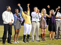 --Fauquier Times Staff Photo/Randy Litzinger<br /> Melvina Brown's mother Tracey Russell erupts in celebration as Melvina Brown was named Kettle Run homecoming queen Friday night during half time of the football game. Her father Robert Russell (at left), and volleyball teammate Eve Williamson and her parents David and Dawn Williamson (at right) shared in the moment for Melvina.