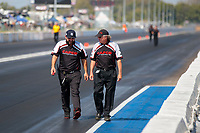 Sep 29, 2019; Madison, IL, USA; Bobby Lagana and crew chief Richard Hogan for NHRA top fuel driver Billy Torrence during the Midwest Nationals at World Wide Technology Raceway. Mandatory Credit: Mark J. Rebilas-USA TODAY Sports