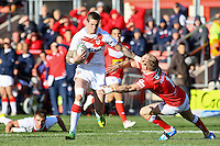 PICTURE BY ALEX WHITEHEAD/SWPIX.COM - Rugby League - Autumn International Series - Wales vs England - Glyndwr University Racecourse Stadium, Wrexham, Wales - 27/10/12 - England's Zak Hardaker hand-off's Wales' Craig Moss.