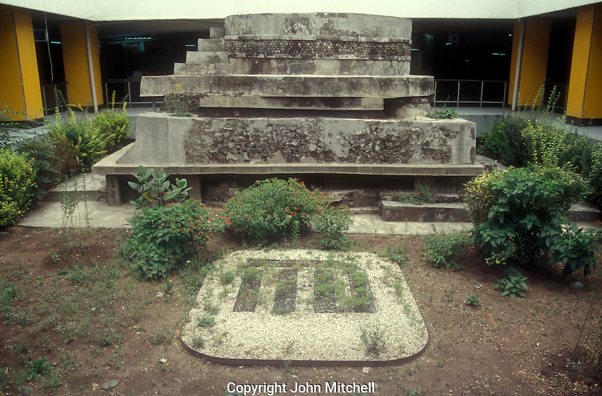 Aztec ruins in the Pino Suarez Metro subway station, Mexico City