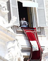 Pope Francis delivers his blessing as he recites the Sunday Angelus noon prayer from the window of his studio overlooking St.Peter's Square, at the Vatican, Sunday, June 7, 2020.<br /> UPDATE IMAGES PRESS/Isabella Bonotto<br /> <br /> STRICTLY ONLY FOR EDITORIAL USE