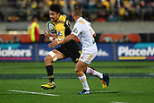 9th June 2017, Westpac Stadium, Wellington, New Zealand; Super Rugby; Hurricanes versus Chiefs;  Hurricanes' Ardie Savea (L) runs with the ball with Chiefs' co-captain Aaron Cruden