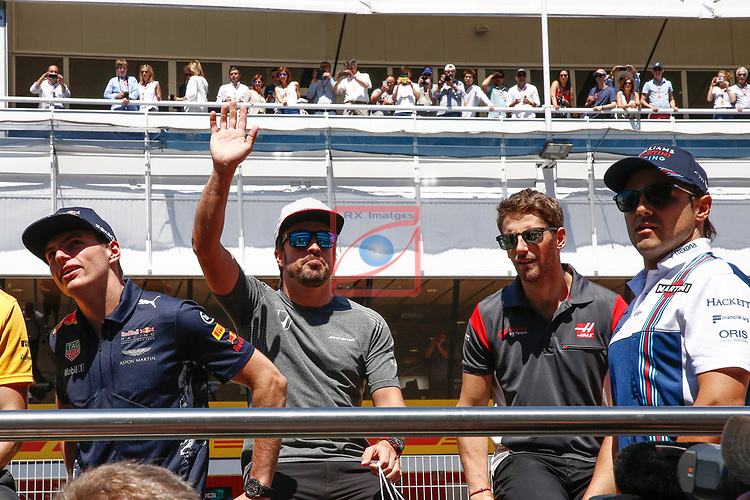 Spanish F1 Grand Prix Pirelli 2017.<br /> Max Verstappen (Red Bull), Fernando Alonso (McLaren), Romain Grosjean (Haas) &amp; Felipe Massa (Williams).