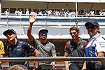 Spanish F1 Grand Prix Pirelli 2017.<br /> Max Verstappen (Red Bull), Fernando Alonso (McLaren), Romain Grosjean (Haas) &amp; Felipe Massa (Williams).