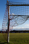 Witton Albion 1 Warrington Town 2, 26/12/2017. Wincham Park, Northern Premier League. One of the goal nets at Wincham Park, home of Witton Albion before their Northern Premier League premier division fixture with Warrington Town. Formed in 1887, the home team have played at their current ground since 1989 having relocated from the Central Ground in Northwich. With both team chasing play-off spots, the visitors emerged with a 2-1 victory, the winner being scored by Tony Gray in second half injury time, watched by a crowd of 503. Photo by Colin McPherson.