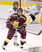 Peter Harrold, Mark Bomersback (Joe Pearce) - The Boston College Eagles and Ferris State Bulldogs tied at 3 in the opening game of the Denver Cup on Friday, December 30, 2005, at Magness Arena in Denver, Colorado.  Boston College won the shootout to determine which team would advance to the Final.