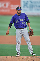 Albuquerque Isotopes starting pitcher Antonio Senzatela (49) during a game against the Salt Lake Bees at Smith's Ballpark on July 25, 2019 in Salt Lake City, Utah. The Bees defeated the Isotopes 8-3. (Stephen Smith/Four Seam Images)
