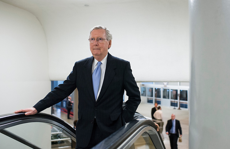 UNITED STATES - MAY 20: Senate Majority Leader Mitch McConnell, R-Ky., enters the Capitol via the Senate subway on Wednesday, May 20, 2015. (Photo By Bill Clark/CQ Roll Call)