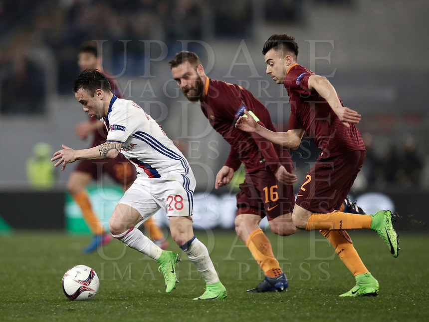 Football Soccer: Europa League Round of 16 second leg, Roma-Lyon, stadio Olimpico, Roma, Italy, March 16,  2017. <br /> Lyon's Mathieu Valbuena (l) in action with Roma's Daniele De Rossi (c) and Stephan El Shaarawy (r) during the Europe League football soccer match between Roma and Lyon at the Olympique stadium, March 16,  2017. <br /> Despite losing 2-1, Lyon reach the quarter finals for 5-4 aggregate win.<br /> UPDATE IMAGES PRESS/Isabella Bonotto