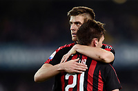 Lucas Biglia of AC Milan celebrates with Krzysztof Piatek after scoring the goal of 0-1 <br /> Verona 9-03-2018 Stadio Bentegodi Football Serie A 2018/2019 Chievo Verona - AC Milan <br /> photo Image Sport / Insidefoto