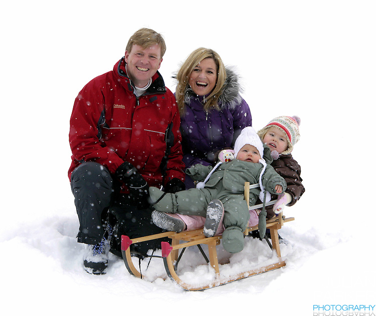 Crown Prince Willem-Alexander & Crown Princess Maxima of Holland, with daughters Princess Catharina-Amalia & Princess Alexia, pose for photographs at the start of their annual skiing holiday in Lech Austria..