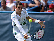 Washington, DC - August 3, 2014: Milos Raonic of Canada sets up to return the ball to fellow Canadian Vasek Pospisil in the Citi Open final, August 3, 2014. Raonic won in straight sets over Pospisil.   (Photo by Don Baxter/Media Images International)
