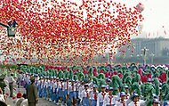 1st October, 1984. Beijing, China. This huge parade is for the celebration of the 35th Anniversary of the Chinese Revolution. Crowd of students marching to show the importance of Education.