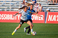 Kansas City, MO - Sunday September 3, 2017: Kelley O'Hara, Katie Bowen during a regular season National Women's Soccer League (NWSL) match between FC Kansas City and Sky Blue FC at Children's Mercy Victory Field.