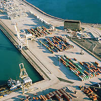 An aerial view of containers stacked up at the dock in Cape Town, South Africa