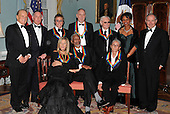Washington, DC - December 6, 2008 -- Formal group photo following the Artist's Dinner at the United States Department of State in Washington, D.C. on Saturday, December 6, 2008 to honor 2008 recipients of the Kennedy Center Honors.   From left to right front row: Barbra Streisand, Morgan Freeman, ans Twyla Tharp.  From left to right back row: George Stevens, Jr., producer; Michael M. Kaiser, President, John F. Kennedy Center for the Performing Arts; Roger Daltry; Pete Townshend; George Jones; United States Secretary of State Condoleezza Rice; and Stephen A. Schwarzman, Chairman, John F. Kennedy Center for the Performing Arts..Credit: Ron Sachs - Pool via CNP