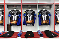 A general view of the Bath Rugby back row jerseys hung up in the changing room. The Clash, Aviva Premiership match, between Bath Rugby and Leicester Tigers on April 8, 2017 at Twickenham Stadium in London, England. Photo by: Patrick Khachfe / Onside Images