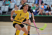 Malaysia's Natasha Neoh Chia-Wen in action during the World Floorball Championships 2017 Qualification for Asia Oceania Region - New Zealand v Malaysia at ASB Sports Centre , Wellington, New Zealand on Saturday 4 February 2017.<br /> Photo by Masanori Udagawa<br /> www.photowellington.photoshelter.com.