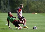 Reece Brown tackles Harry Chapman of Sheffield Utd during the Sheffield Utd training session at the Shirecliffe Training Complex , Sheffield. Picture date: September 29th, 2016. Pic Simon Bellis/Sportimage