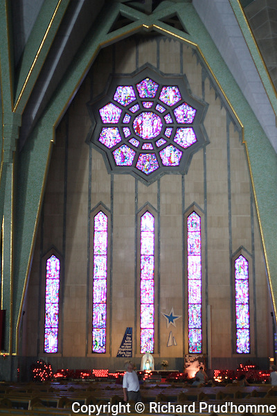 Sanctuaire Notre-Dame-du-Cap. The construction of the Basilica took place in 1955, the stained glass windows are the works of a Dutch artist, Father Jan Tillemans o.m.i.