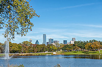 Dallas park view of the city skyline.