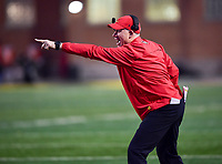 College Park, MD - NOV 25, 2017: Maryland Terrapins head coach DJ Durkin yells a play from the sideline during game between Maryland and Penn State at Capital One Field at Maryland Stadium in College Park, MD. (Photo by Phil Peters/Media Images International)