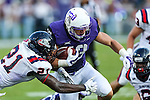 TCU Horned Frogs wide receiver Ty Slanina (13) and Samford Bulldogs defensive back James Bradberry (21) in action during the game between the Samford Bulldogs and the TCU Horned Frogs at the Amon G. Carter Stadium in Fort Worth, Texas.  TCU leads Stamford 24 to 7 at halftime.